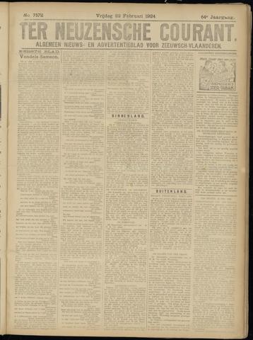 Ter Neuzensche Courant. Algemeen Nieuws- en Advertentieblad voor Zeeuwsch-Vlaanderen / Neuzensche Courant ... (idem) / (Algemeen) nieuws en advertentieblad voor Zeeuwsch-Vlaanderen 1924-02-22
