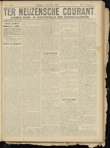 Ter Neuzensche Courant. Algemeen Nieuws- en Advertentieblad voor Zeeuwsch-Vlaanderen / Neuzensche Courant ... (idem) / (Algemeen) nieuws en advertentieblad voor Zeeuwsch-Vlaanderen 1923-10-05