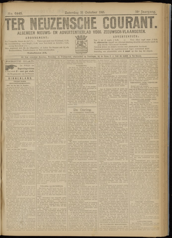 Ter Neuzensche Courant. Algemeen Nieuws- en Advertentieblad voor Zeeuwsch-Vlaanderen / Neuzensche Courant ... (idem) / (Algemeen) nieuws en advertentieblad voor Zeeuwsch-Vlaanderen 1916-10-21