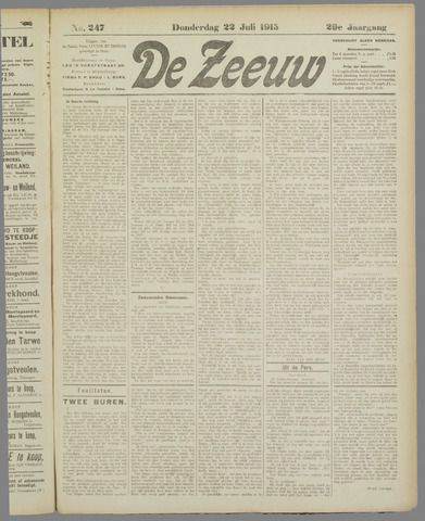De Zeeuw. Christelijk-historisch nieuwsblad voor Zeeland 1915-07-22