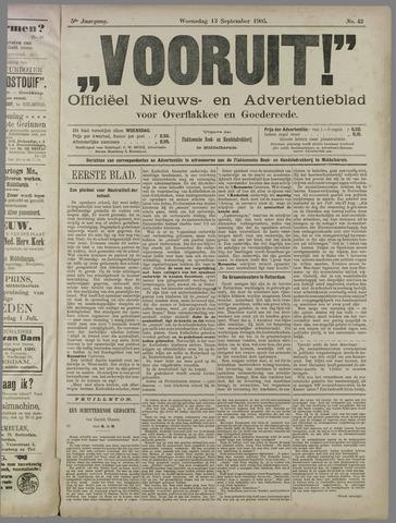 """""""Vooruit!""""Officieel Nieuws- en Advertentieblad voor Overflakkee en Goedereede 1905-09-13"""
