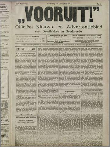 """""""Vooruit!""""Officieel Nieuws- en Advertentieblad voor Overflakkee en Goedereede 1915-12-15"""