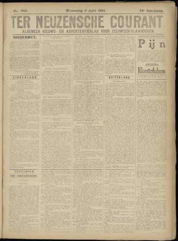 Ter Neuzensche Courant. Algemeen Nieuws- en Advertentieblad voor Zeeuwsch-Vlaanderen / Neuzensche Courant ... (idem) / (Algemeen) nieuws en advertentieblad voor Zeeuwsch-Vlaanderen 1924-04-09