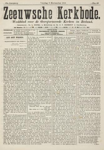 Zeeuwsche kerkbode, weekblad gewijd aan de belangen der gereformeerde kerken/ Zeeuwsch kerkblad 1918-11-08