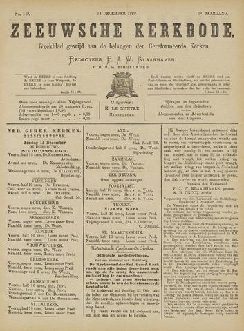 Zeeuwsche kerkbode, weekblad gewijd aan de belangen der gereformeerde kerken/ Zeeuwsch kerkblad 1889-12-14
