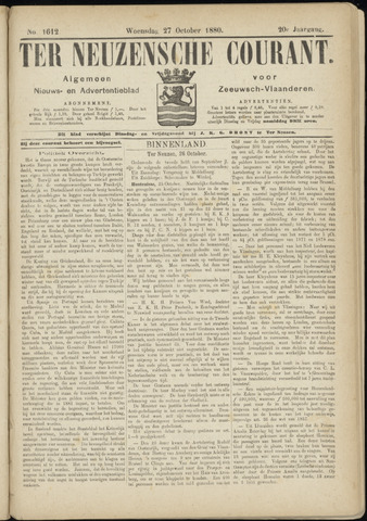 Ter Neuzensche Courant. Algemeen Nieuws- en Advertentieblad voor Zeeuwsch-Vlaanderen / Neuzensche Courant ... (idem) / (Algemeen) nieuws en advertentieblad voor Zeeuwsch-Vlaanderen 1880-10-27