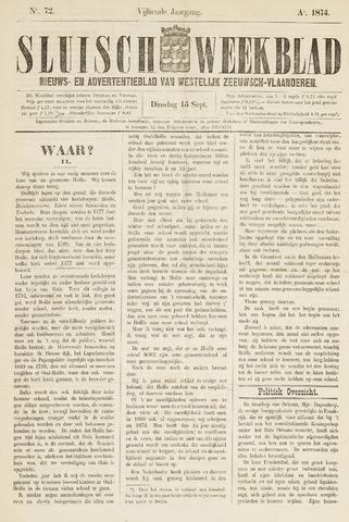 Sluisch Weekblad. Nieuws- en advertentieblad voor Westelijk Zeeuwsch-Vlaanderen 1874-09-15