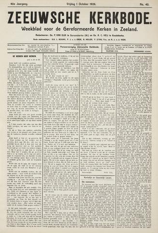 Zeeuwsche kerkbode, weekblad gewijd aan de belangen der gereformeerde kerken/ Zeeuwsch kerkblad 1926-10-01