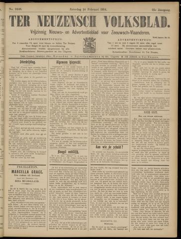Ter Neuzensch Volksblad. Vrijzinnig nieuws- en advertentieblad voor Zeeuwsch- Vlaanderen / Zeeuwsch Nieuwsblad. Nieuws- en advertentieblad voor Zeeland 1914-02-14