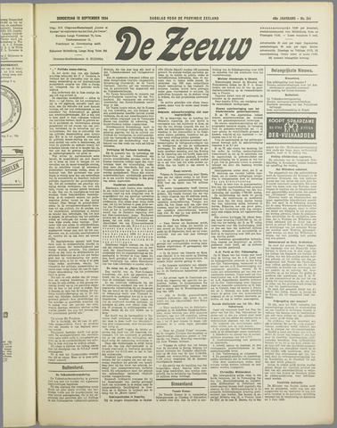 De Zeeuw. Christelijk-historisch nieuwsblad voor Zeeland 1934-09-13