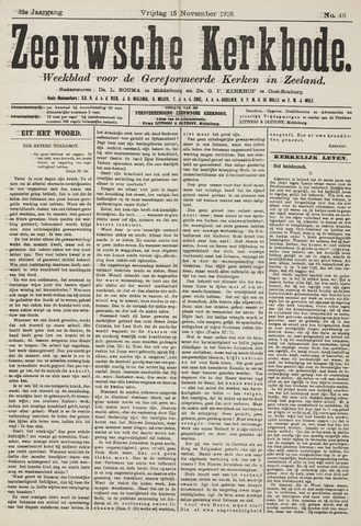 Zeeuwsche kerkbode, weekblad gewijd aan de belangen der gereformeerde kerken/ Zeeuwsch kerkblad 1918-11-15