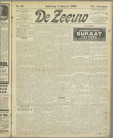 De Zeeuw. Christelijk-historisch nieuwsblad voor Zeeland 1920-01-03