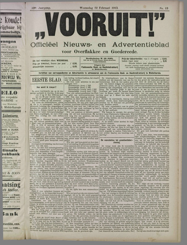 """""""Vooruit!""""Officieel Nieuws- en Advertentieblad voor Overflakkee en Goedereede 1913-02-12"""
