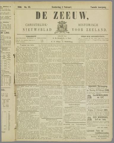 De Zeeuw. Christelijk-historisch nieuwsblad voor Zeeland 1888-02-02