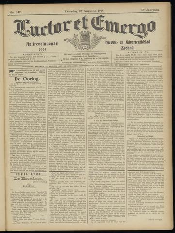 Luctor et Emergo. Antirevolutionair nieuws- en advertentieblad voor Zeeland / Zeeuwsch-Vlaanderen. Orgaan ter verspreiding van de christelijke beginselen in Zeeuwsch-Vlaanderen 1914-08-22