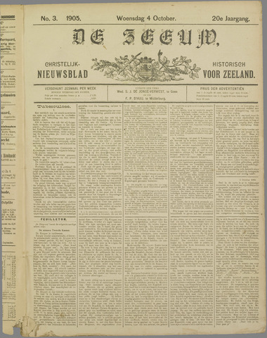 De Zeeuw. Christelijk-historisch nieuwsblad voor Zeeland 1905-10-04