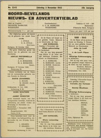 Noord-Bevelands Nieuws- en advertentieblad 1945-11-03