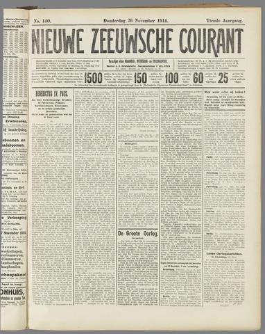 Nieuwe Zeeuwsche Courant 1914-11-26