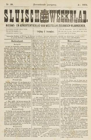 Sluisch Weekblad. Nieuws- en advertentieblad voor Westelijk Zeeuwsch-Vlaanderen 1876-12-01