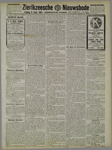 Zierikzeesche Nieuwsbode 1921-09-09