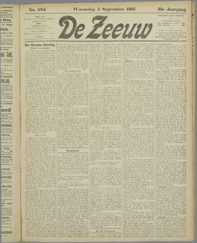 De Zeeuw. Christelijk-historisch nieuwsblad voor Zeeland 1917-09-05