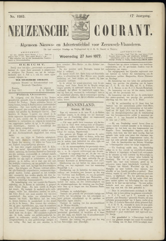 Ter Neuzensche Courant. Algemeen Nieuws- en Advertentieblad voor Zeeuwsch-Vlaanderen / Neuzensche Courant ... (idem) / (Algemeen) nieuws en advertentieblad voor Zeeuwsch-Vlaanderen 1877-06-27