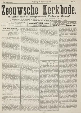 Zeeuwsche kerkbode, weekblad gewijd aan de belangen der gereformeerde kerken/ Zeeuwsch kerkblad 1923-02-16