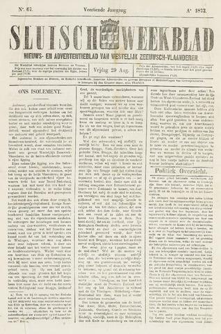 Sluisch Weekblad. Nieuws- en advertentieblad voor Westelijk Zeeuwsch-Vlaanderen 1873-08-29