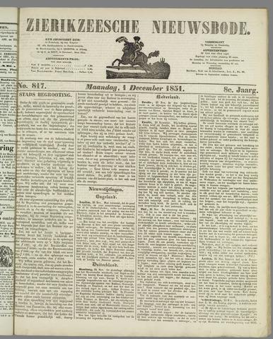 Zierikzeesche Nieuwsbode 1851-12-01