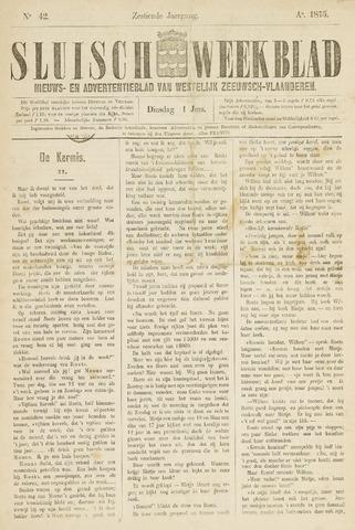 Sluisch Weekblad. Nieuws- en advertentieblad voor Westelijk Zeeuwsch-Vlaanderen 1875-06-01