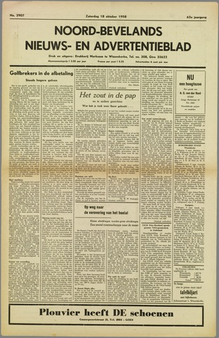 Noord-Bevelands Nieuws- en advertentieblad 1958-10-18