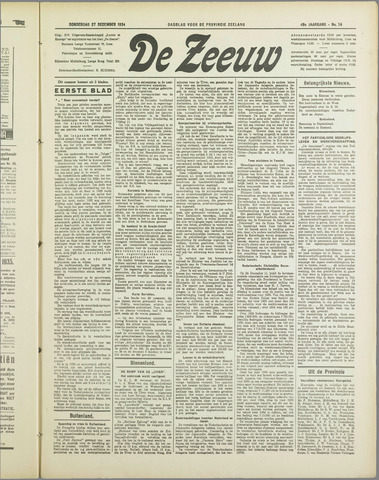 De Zeeuw. Christelijk-historisch nieuwsblad voor Zeeland 1934-12-27