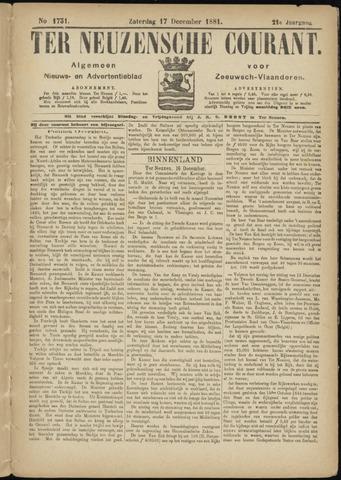 Ter Neuzensche Courant. Algemeen Nieuws- en Advertentieblad voor Zeeuwsch-Vlaanderen / Neuzensche Courant ... (idem) / (Algemeen) nieuws en advertentieblad voor Zeeuwsch-Vlaanderen 1881-12-17