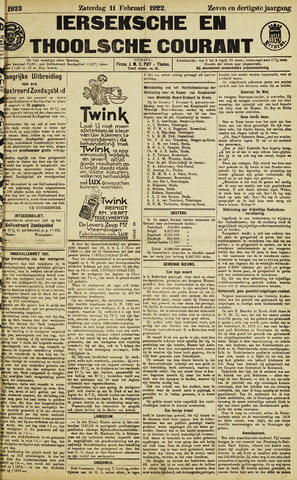 Ierseksche en Thoolsche Courant 1922-02-11