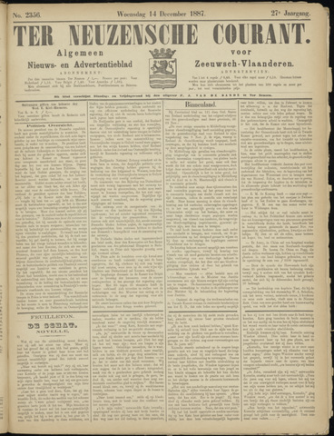 Ter Neuzensche Courant. Algemeen Nieuws- en Advertentieblad voor Zeeuwsch-Vlaanderen / Neuzensche Courant ... (idem) / (Algemeen) nieuws en advertentieblad voor Zeeuwsch-Vlaanderen 1887-12-14