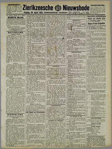 Zierikzeesche Nieuwsbode 1921-04-29