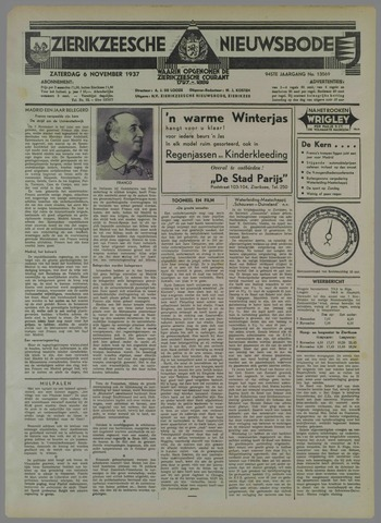 Zierikzeesche Nieuwsbode 1937-11-06
