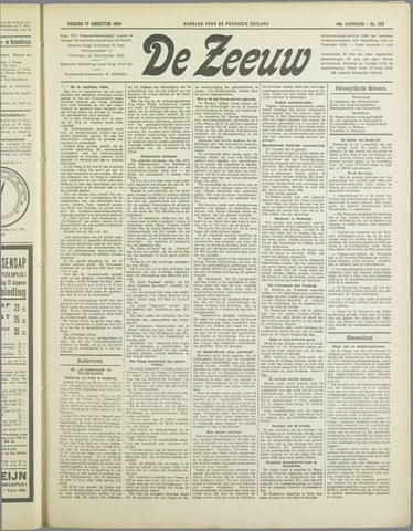 De Zeeuw. Christelijk-historisch nieuwsblad voor Zeeland 1934-08-17