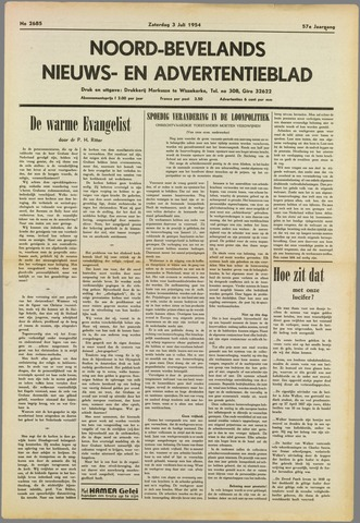 Noord-Bevelands Nieuws- en advertentieblad 1954-07-03