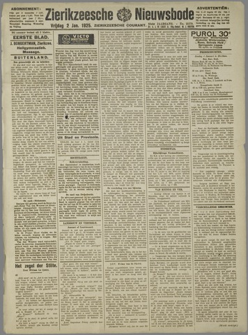 Zierikzeesche Nieuwsbode 1925-01-02