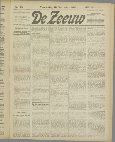 De Zeeuw. Christelijk-historisch nieuwsblad voor Zeeland 1915-11-10