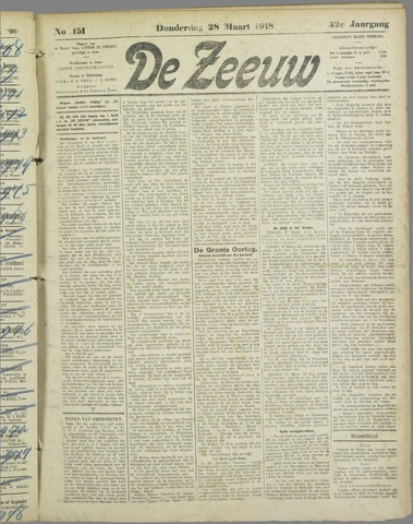 De Zeeuw. Christelijk-historisch nieuwsblad voor Zeeland 1918-03-28