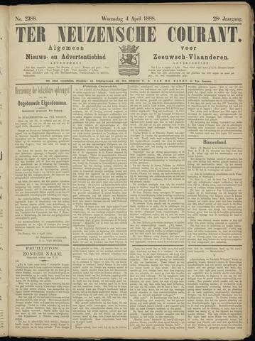 Ter Neuzensche Courant. Algemeen Nieuws- en Advertentieblad voor Zeeuwsch-Vlaanderen / Neuzensche Courant ... (idem) / (Algemeen) nieuws en advertentieblad voor Zeeuwsch-Vlaanderen 1888-04-04