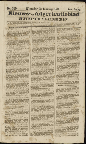 Ter Neuzensche Courant. Algemeen Nieuws- en Advertentieblad voor Zeeuwsch-Vlaanderen / Neuzensche Courant ... (idem) / (Algemeen) nieuws en advertentieblad voor Zeeuwsch-Vlaanderen 1861-01-23