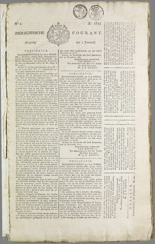 Zierikzeesche Courant 1822
