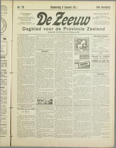De Zeeuw. Christelijk-historisch nieuwsblad voor Zeeland 1929-01-03