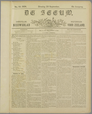 De Zeeuw. Christelijk-historisch nieuwsblad voor Zeeland 1904-09-20