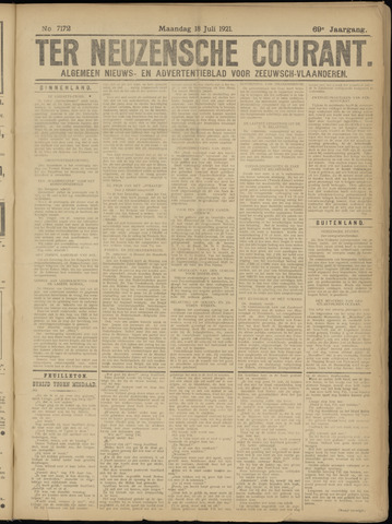 Ter Neuzensche Courant. Algemeen Nieuws- en Advertentieblad voor Zeeuwsch-Vlaanderen / Neuzensche Courant ... (idem) / (Algemeen) nieuws en advertentieblad voor Zeeuwsch-Vlaanderen 1921-07-18