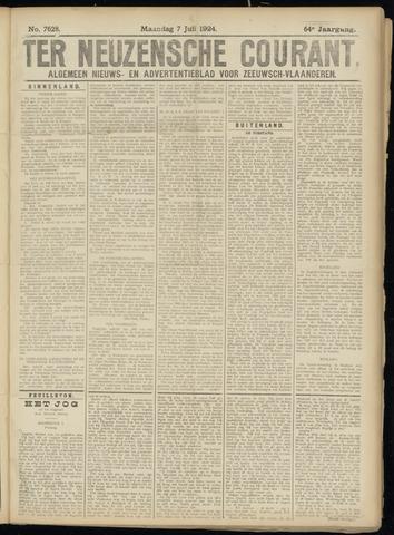 Ter Neuzensche Courant. Algemeen Nieuws- en Advertentieblad voor Zeeuwsch-Vlaanderen / Neuzensche Courant ... (idem) / (Algemeen) nieuws en advertentieblad voor Zeeuwsch-Vlaanderen 1924-07-07