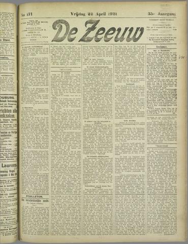 De Zeeuw. Christelijk-historisch nieuwsblad voor Zeeland 1921-04-22